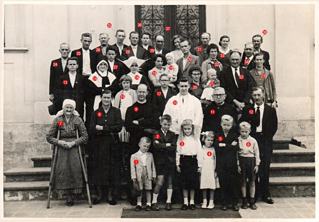 Ordenação Sacerdotal de Monsieur Domingos Kachel, na Igreja das Mercês, Curitiba – PR. 19 de Dezembro de 1959. Presentes conforme a numeração: 1 – Francisco Serighelli, 2 – Luiz Fernando Serighelli, 3 – Maria Cândida Kachel, 4 – Fatima Kachel, 5 – Não identificado, 6 – Augusto Spisla, 7 – Edwirges Machoski (Starka Kuliska), 8 – Regina Kulik Kachel, 9 – Padre Fabiano Kachel, 10 – Padre Domingos Kachel, 11 – Padre João Wilinski, 12 – Lodovico Kachel, 13 – Pedrinho Wosch, 14 – Blanca Kachel, 15 – Regina Serighelli, 16 – Silvia Kachel, 17 – Rogério Spisla, 18 – Hotélia Kachel, 19 – Domingos Spisla, 20 – Maria Joana Kachel Serighelli, 21 – Silvia Rachel Kachel Serighelli, 22 – Adir Serighelli, 23 – Não identificada, 24 – Não identificado, 25 – Francisco Wosch, 26 – Pedro Kachel, 27 – Ceriaco Wosch, 28 – Não identificado, 29 – Aleixo Schluga, 30 – Não identificado, 31 – Vicente Spisla, 32 – Não identificada, 33 – Antonia Kachel Spisla, 34 – David Kachel, 35 – Não identificado, 36 – Gregório Wosch, 37 – Philomena Kachel Schluga, 38 – Paulo Kulik. Ordenação Sacerdotal de Monsieur Domingos Kachel, na Igreja das Mercês, Curitiba – PR. 19 de Dezembro de 1959.
